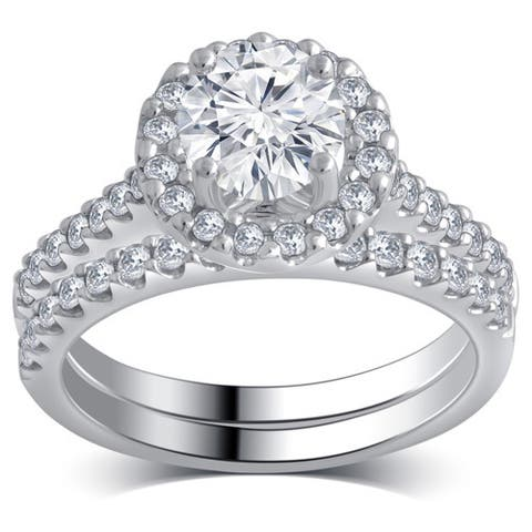 Divina 14k White Gold 1 1/3ct TDW Diamond Bridal Set.