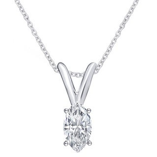 Divina 14K White Gold 1/3ct TDW IGL Certified Marquise Solitaire Diamond Pendant.(J-K, I2-I3)