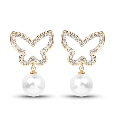 Liliana Bella Butterfly Dangle White Pearl Drop Earrings
