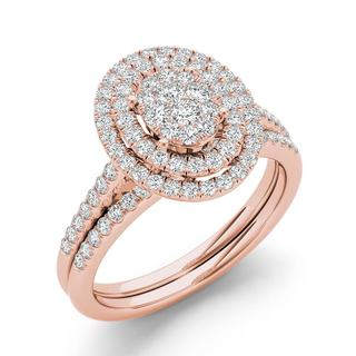 De Couer 10k Rose Gold 1/2ct TDW Oval Shaped Cluster Halo Bridal Set