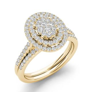 De Couer 10k Yellow Gold 1/2ct TDW Oval Shaped Cluster Halo Bridal Set (H-I, I2)