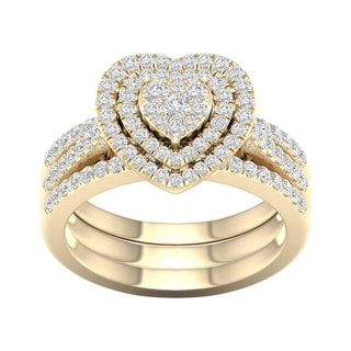 Link to De Couer 10k Yellow Gold 3/4ct TDW Heart Shaped Cluster Halo Bridal Set Similar Items in Wedding Rings