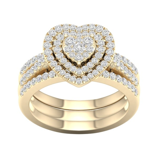 De Couer 10k Yellow Gold 3/4ct TDW Heart Shaped Cluster Halo Bridal Set. Opens flyout.