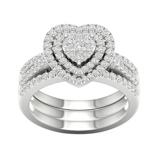 De Couer 10k White Gold 3/4ct TDW Heart Shaped Cluster Halo Bridal Set