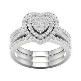 De Couer 10k White Gold 3/4ct TDW Heart Shaped Cluster Halo Bridal Set - White H-I
