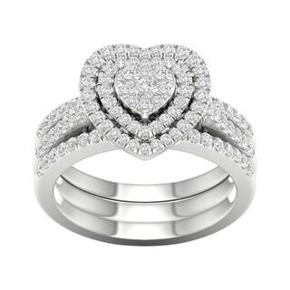 De Couer IGI Certified 10k White Gold 3/4ct TDW Heart Shaped Cluster Halo Bridal Set - White H-I