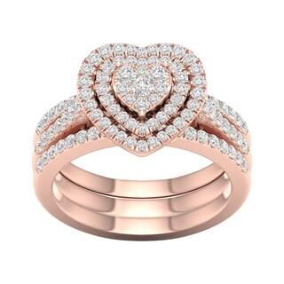 De Couer 10k Rose Gold 3/4ct TDW Heart Shaped Cluster Halo Bridal Set (H-I, I2)