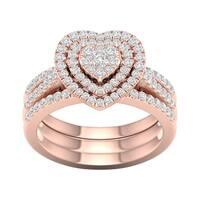 De Couer 10k Rose Gold 3/4ct TDW Heart Shaped Cluster Halo Bridal Set - Pink