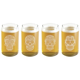 Dia De Los Muertos Assortment Glass Beer Can (Set of 4)