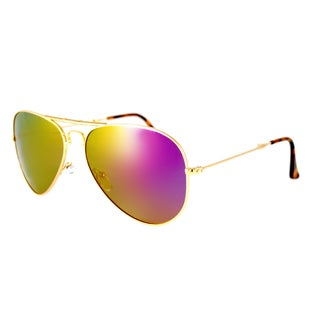 EYEFolds Ace Foldable Gold Metal Aviator Sunglasses Pink Mirror Polarized Lens
