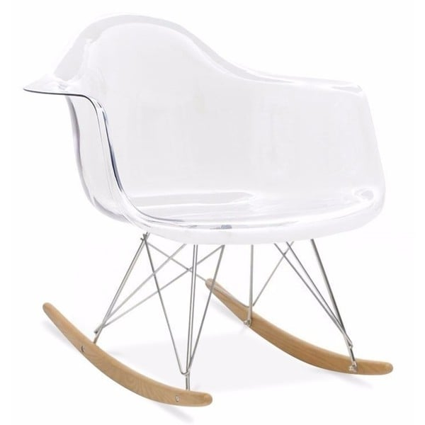 Clear eiffel rocking chair free shipping today for Fauteuil eames rocking chair
