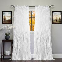 "Sheer Voile Ruffled Tier Window Curtain Panel 84"" in Ivory (As Is Item)"