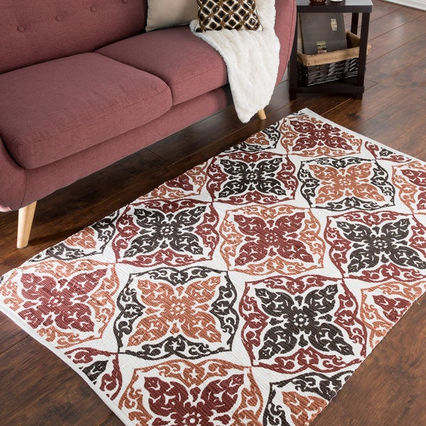 Shop Windsor Home Chindi Damask Motif Accent Rug 3 5 X