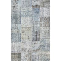 Vintage Turkish Patchwork Blue wool Hand-knotted Rug (6'3x9'10)