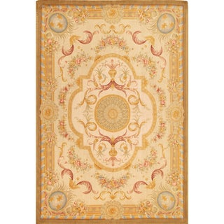 Pasargad Savonnerie Collection Ivory/Yellow Lamb's Wool Hand-knotted Rug ( 9' x 12')