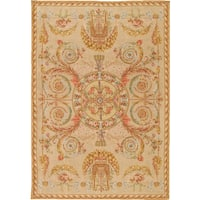 """Savonnerie Hand-knotted Ivory Lamb's Wool Rug (9' 9"""" X 13'11"""")"""
