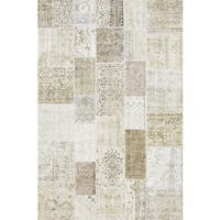 Pasargad Beige Lamb's Wool Vintage Turkish Patchwork Hand-knotted Rug ( 6' 7 X 9'10)