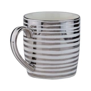 Vail Silver Stripes Porcelain Mug (Pack of 4)