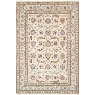 """Persian Tabriz Hand-knotted Ivory Silk & Wool Rug ( 5' 6"""" X 8' 4"""")"""