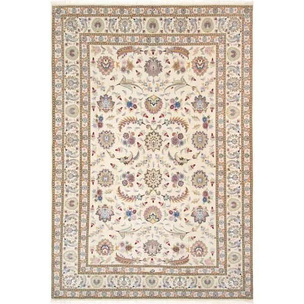 5 X 6 Vintage Kazak Persian Oriental Wool Hand Knotted: Shop Persian Tabriz Hand-knotted Ivory Silk & Wool Rug ( 5
