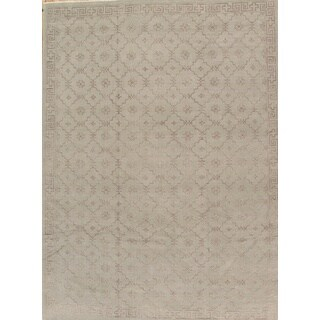 Pasargad Khotan Collection Grey/Green Silk/Wool Hand-knotted Rug (9' 1 x 12' 4)