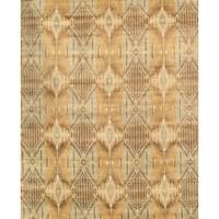 Pasargad Ikat Collection Hand-knotted Grey/Light Blue Lamb's Wool Area Rug (9'4 x 12')