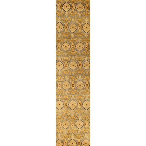 Pasargad Ikat Collection Hand-knotted Light Blue/Gold Lamb's Wool Runner (2'9 x 9'10)