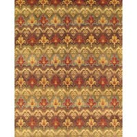 Pasargad Ikat Collection Hand-knotted Multi/Brown Lamb's Wool Area Rug (7'10 x 9'11)