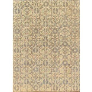 Pasargad Ikat Collection Hand-knotted Grey/Beige Lamb's Wool Rug (9'0 x 12'0)