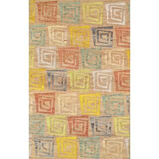 Pasargad Sumak Modern Collection Camel/Multicolor Hand-woven Hemp Rug ( 8' 0 X 11' 0)