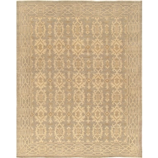 Pasargad Khotan Collection Light Grey Hand-knotted Silk/Wool Rug ( 9'2 x 12' 2)