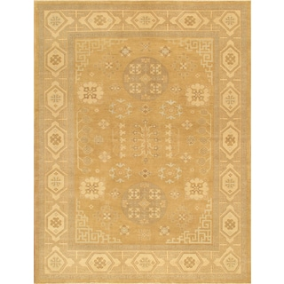 Pasargad Khotan Collection Hand-knotted Light Gold/Beige Lamb's Wool Rug (9'2 x 12'3)