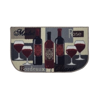 """Structures Wine Time Textured Loop Wedge Shaped Kitchen Rug - 1'5"""" x 2'5"""""""