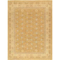 Pasargad Khotan Collection Hand-knotted Light Gold/Beige Wool Area Rug (9'1 x 12'3)