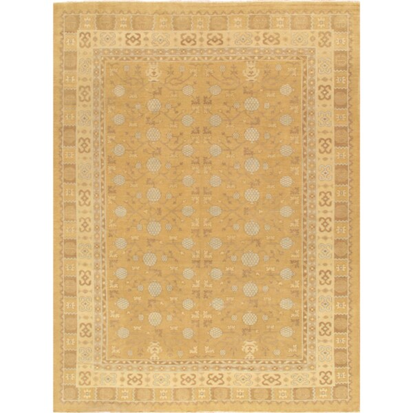Stella Collection Hand Tufted Area Rug In Beige Light: Shop Pasargad Khotan Collection Hand-knotted Light Gold
