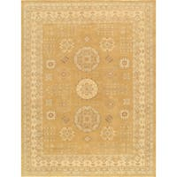 Pasargad Khotan Gold/ Beige Hand-knotted Lamb's Wool Area Rug (9'3 x 12')
