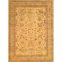 Pasargad Sultanabad Collection Hand-knotted Gold Lamb's Wool Rug (12' x 14'9)