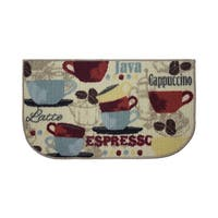 "Structures Coffee Textured Loop Wedge Shaped Kitchen Rug - 1'5"" x 2'5"""