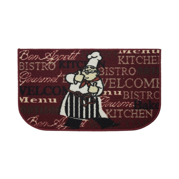 """Bistro Chef Printed Textured Loop 18 x 30 in. Wedge-Shaped Kitchen Accent Rug - 1'5"""" x 2'5"""""""