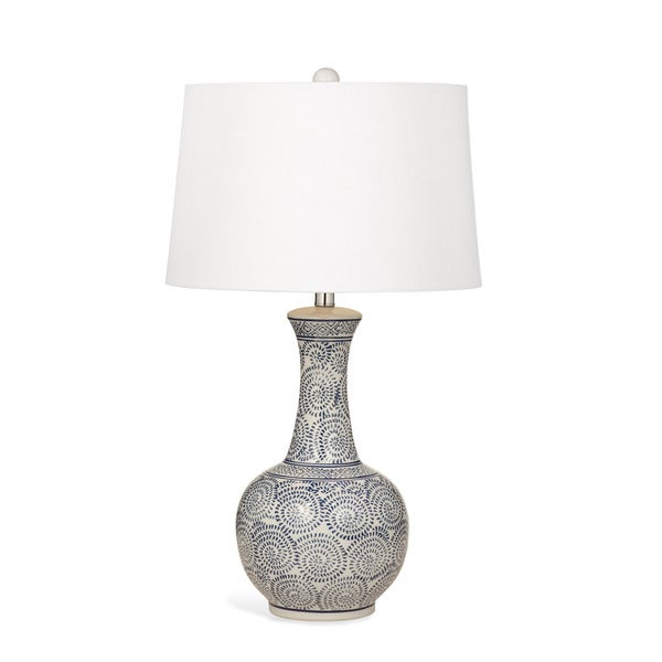Trenton 28-inch White and Blue Ceramic Table Lamp