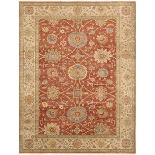Pasargad Sultanabad Collection Rust/Ivory Lamb's Wool Handknotted Area Rug (9'2 x 11'10)