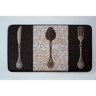 "Chef Gear French Utensils Faux Leather Anti-Fatigue Cushioned Chef Mat (1'5"" x 2'5"")"