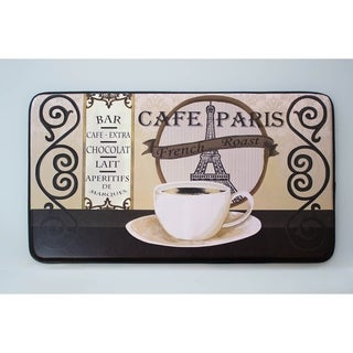 "Chef Gear Cafe Paris Faux Leather Anti-Fatigue Cushioned Chef Mat (1'5"" x 2'5"")"