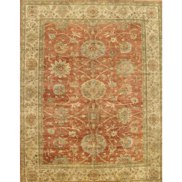 Pasargad Sultanabad Collection Rust/Ivory Lamb's Wool Rug (9' 8 X 10' 0)