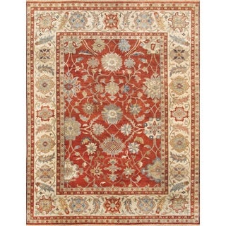 Pasargad Sultanabad Rust/Ivory Lamb's Wool Hand-Knotted Rug (9'0 x 11'9)