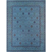 Pasargad Overdye Collection Blue Wool Hand-woven Rug (10' x 13'5)