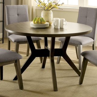 Furniture of America Remi Mid-Century Modern Angular Grey Round Dining Table