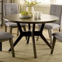 Furniture of America Remi Mid-Century Modern Angular Grey Round Dining Table