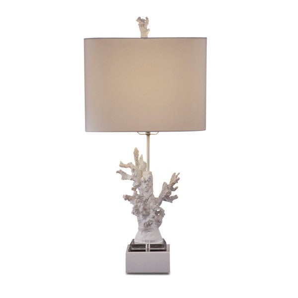 White Coral 28-inch White Resin Table Lamp