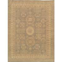 Pasargad Khotan Hand-knotted Light Grey/Beige Lamb's Wool Rug (2' x 3')